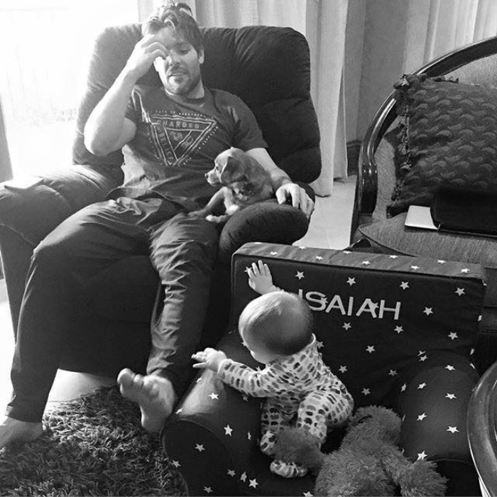 Carrie Underwood Husband Mike Fisher Son Isaiah Fisher Facebook Black White Photo Family