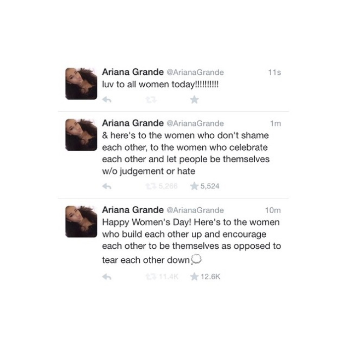 Ariana Grande Twitter Post Womens Day