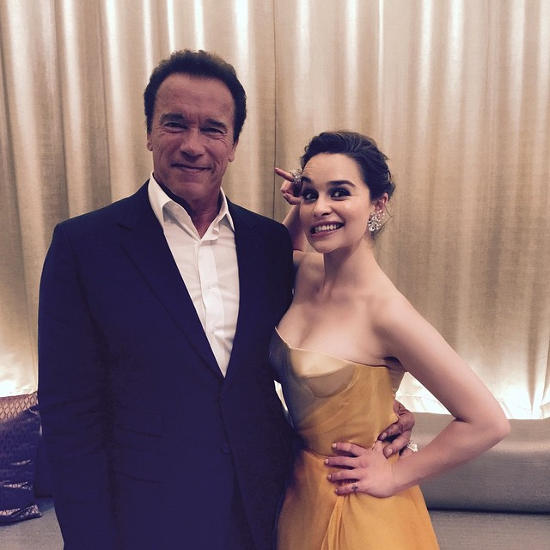 Emilia Clarke with Arnold Schwarzenegger