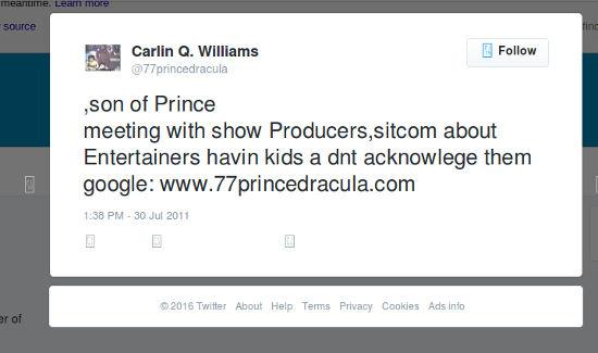Carlin Williams Tweet 1