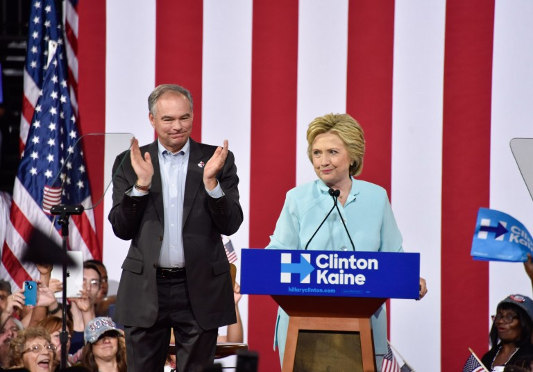 Hillary Clinton and Tim Kaine Rally In Miami