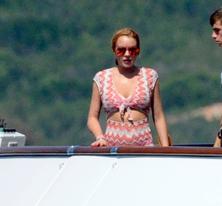 Lindsay Lohan and friend on yacht in Sardinia 2