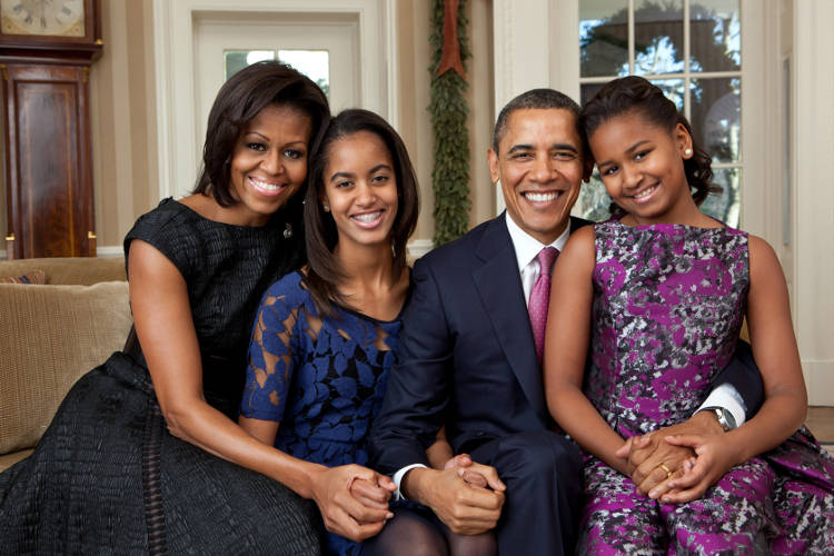 Obama Family portraits 2009 and 2011