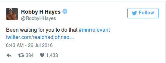 Robby Hayes Tweet