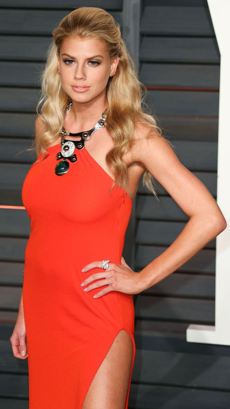 charlotte mckinney sexy pic in orange dress