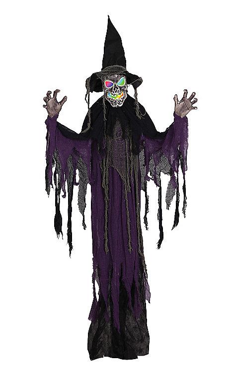 illuminated hanging skull witch halloween decoration