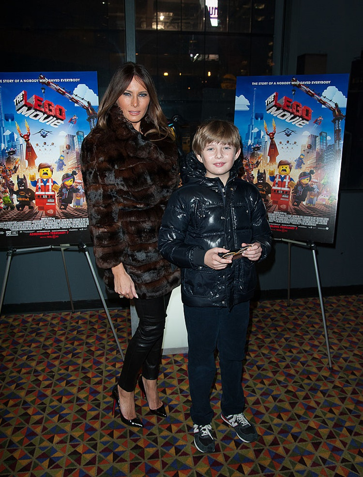 Melania Trump and Barron Trump attends The LEGO Movie
