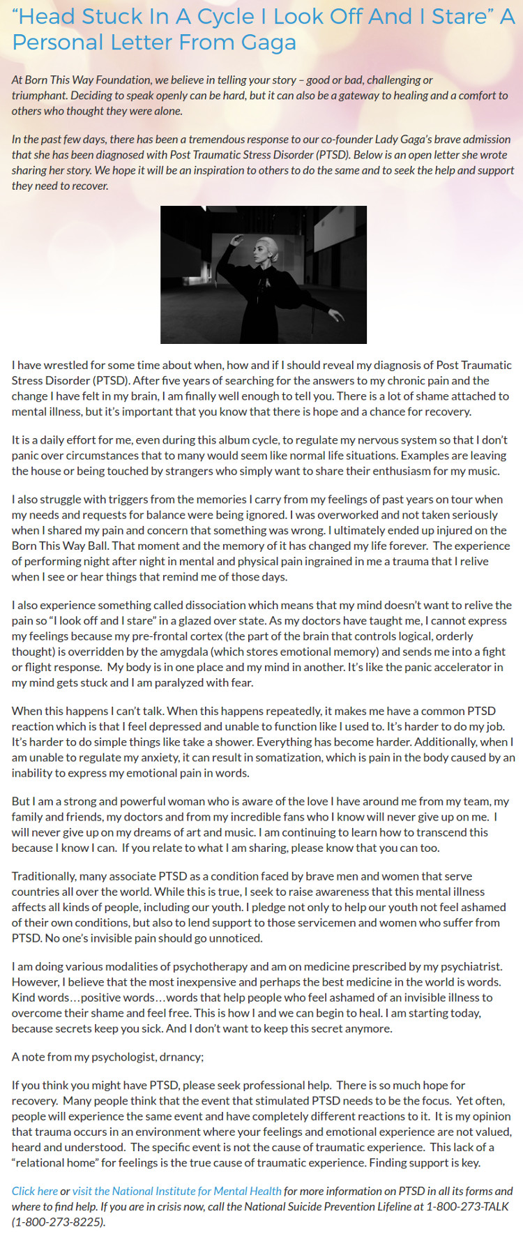 Lady Gaga Open Letter
