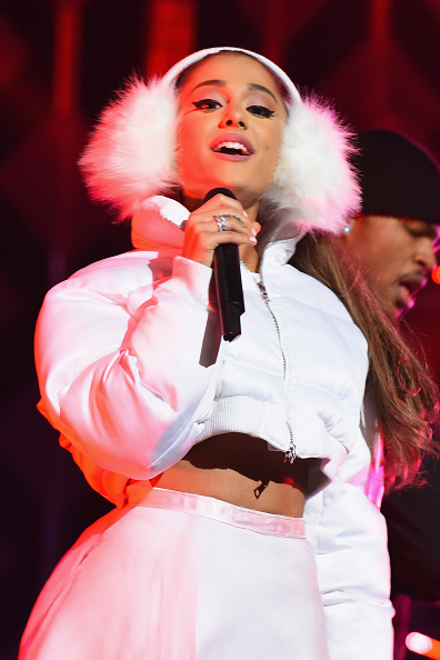 BOSTON, MA - DECEMBER 11: Singer Ariana Grande performs on stage during KISS 108's Jingle Ball 2016 at TD Garden on December 11, 2016 in Boston, Massachusetts. (Photo by Dave Kotinsky/Getty Images for iHeart)