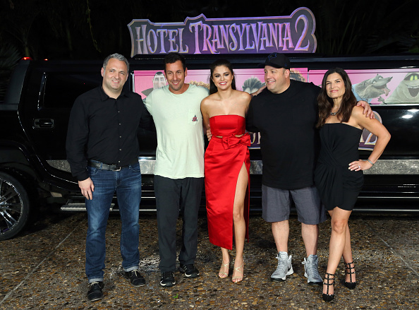 Director Genndy Tartakovsky, actors Adam Sandler, Selena Gomez, Kevin James, and Michelle Murdocca