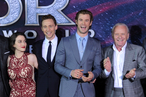 Kat Dennings, Tom Hiddleston, Chris Hemsworth and Anthony Hopkins at the Thor premiere in Hollywood, 2013