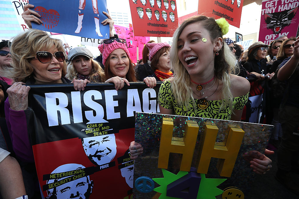 Miley Cyrus at Women's March 2017