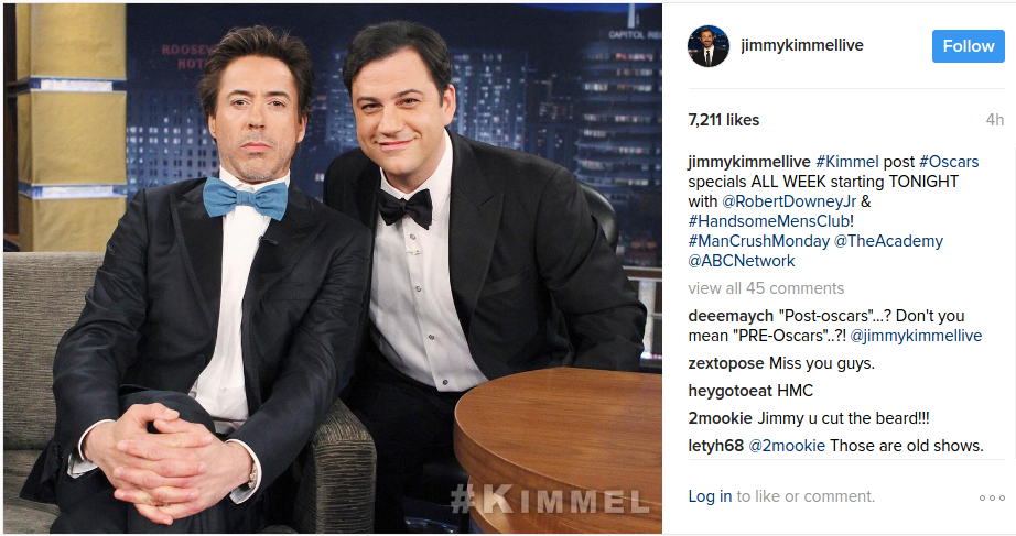 Robert Downey Jr on Jimmy Kimmel show