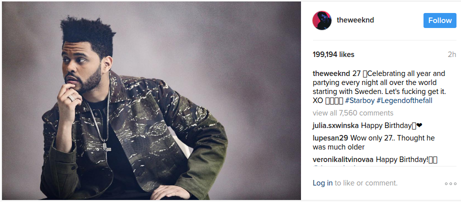 the weeknd instagram