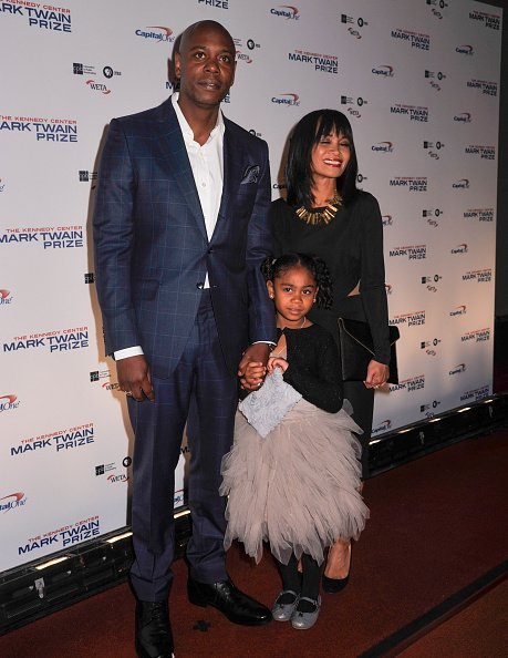 Dave Chappelle with wife Elaine Chappelle, and daughter Sonal