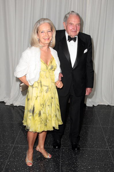 David Rockefeller and wife, Margaret McGrath, 2008