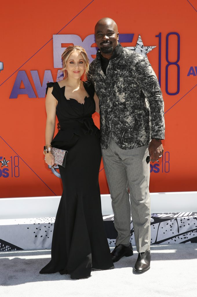 Mike Colter (R) and Iva Colter attend the 2018 BET Awards at Microsoft Theater on June 24, 2018 in Los Angeles, California