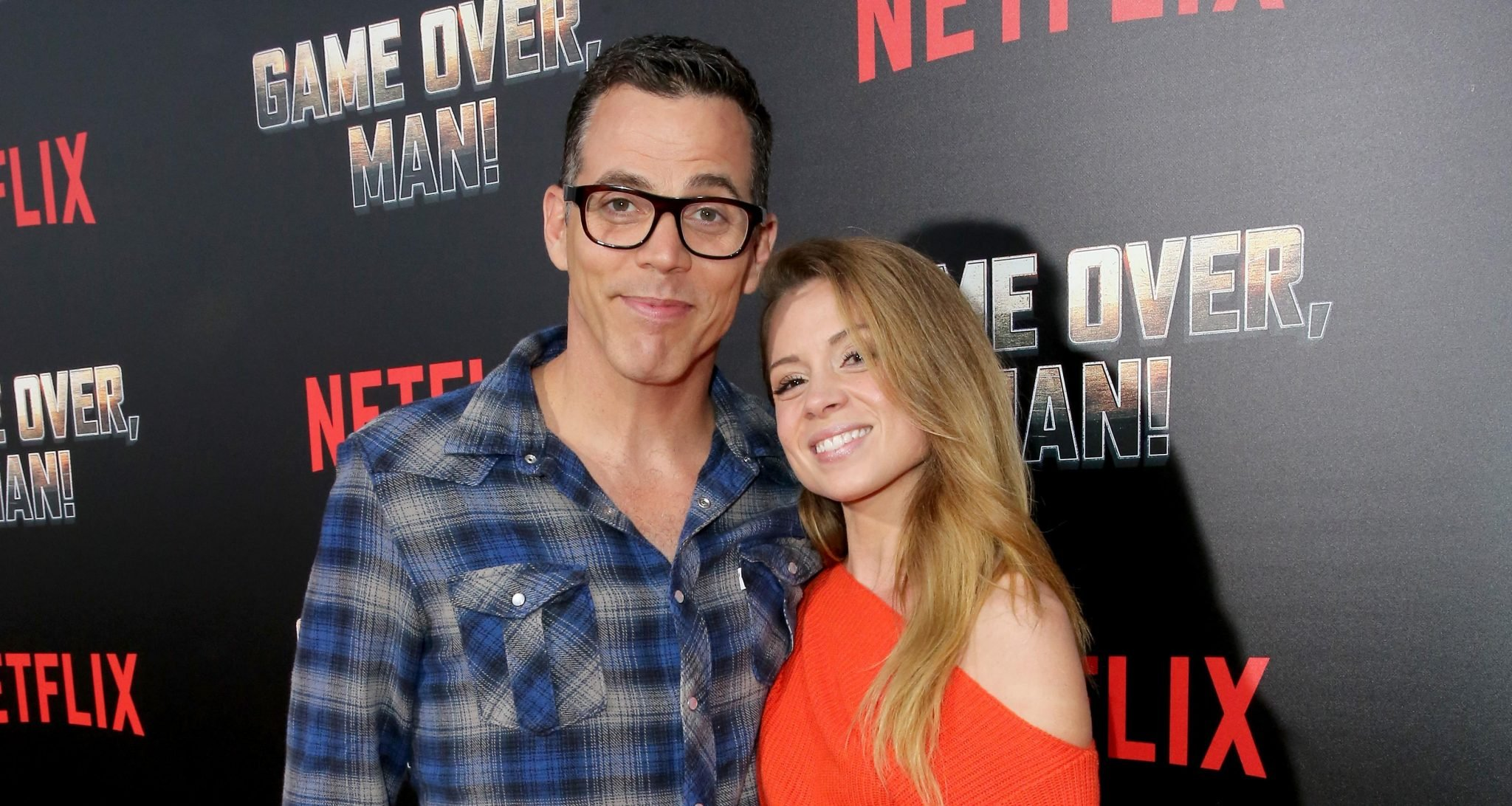 Steve-O (L) and Lux Wright attend the premiere of the Netflix film 'Game Over, Man!' at the Regency Village Westwood