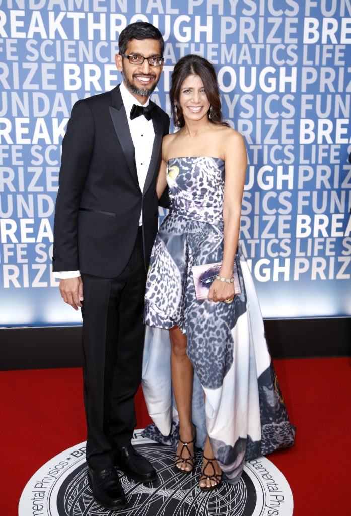 CEO of Google, Sundar Pichai and his wife Anjali Pichai