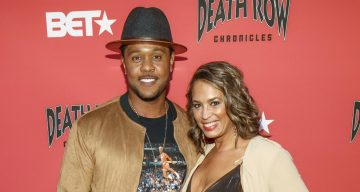 Pooch Hall and wife Linda Hall arrive at an event where BET NETWORKS Hosts an Exclusive Dinner & Performance