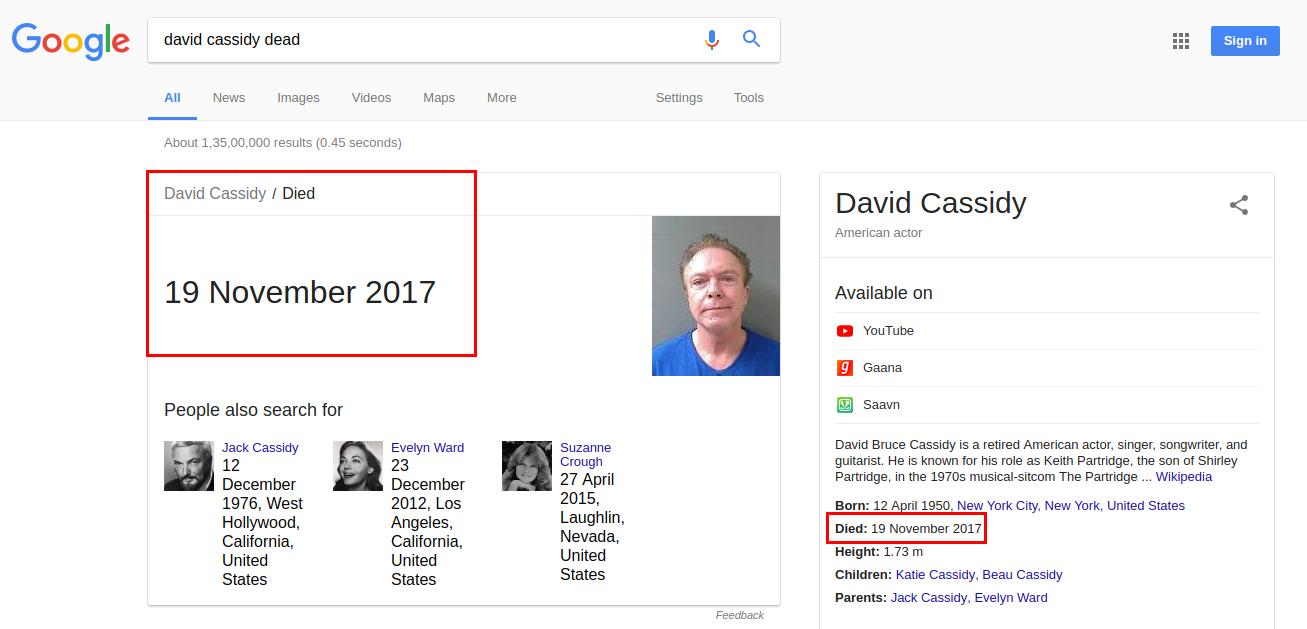Is David Cassidy Dead?
