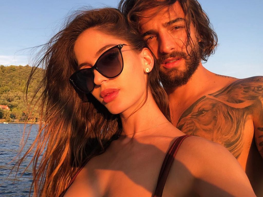 Natalia Barulich with his boyfriend, Maluma