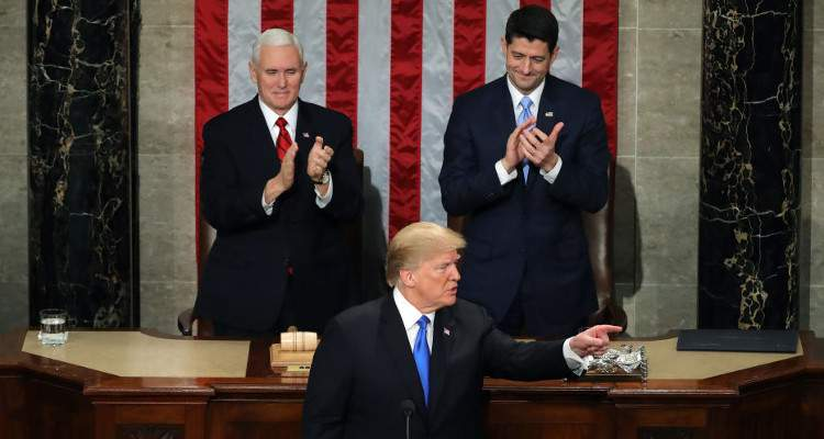 Who Was Sitting behind Trump? Was That the Speaker of the House and the Vice President of the States?
