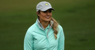 Amanda Balionis looks on during practice round prior to the start of the 2018 Masters Tournament