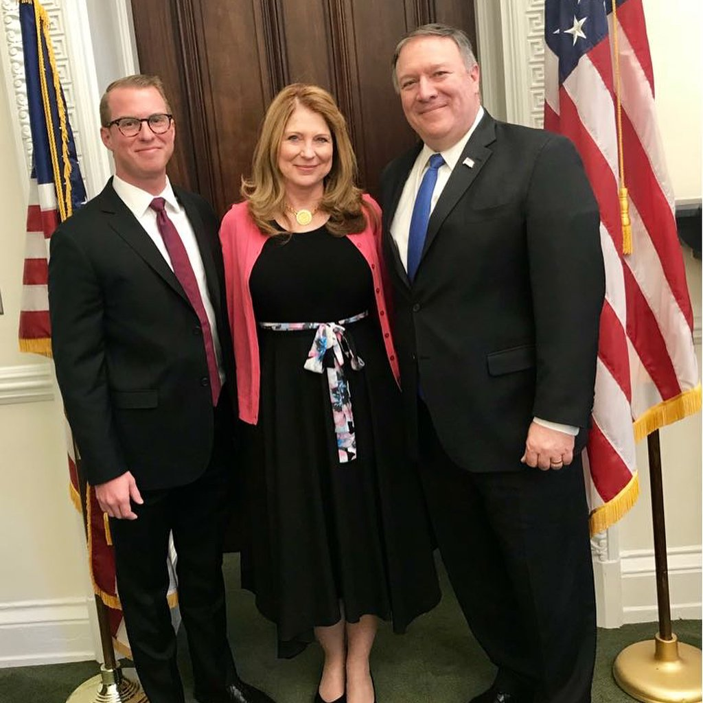 US Secretary of State, Mike Pompeo with his wife and Son