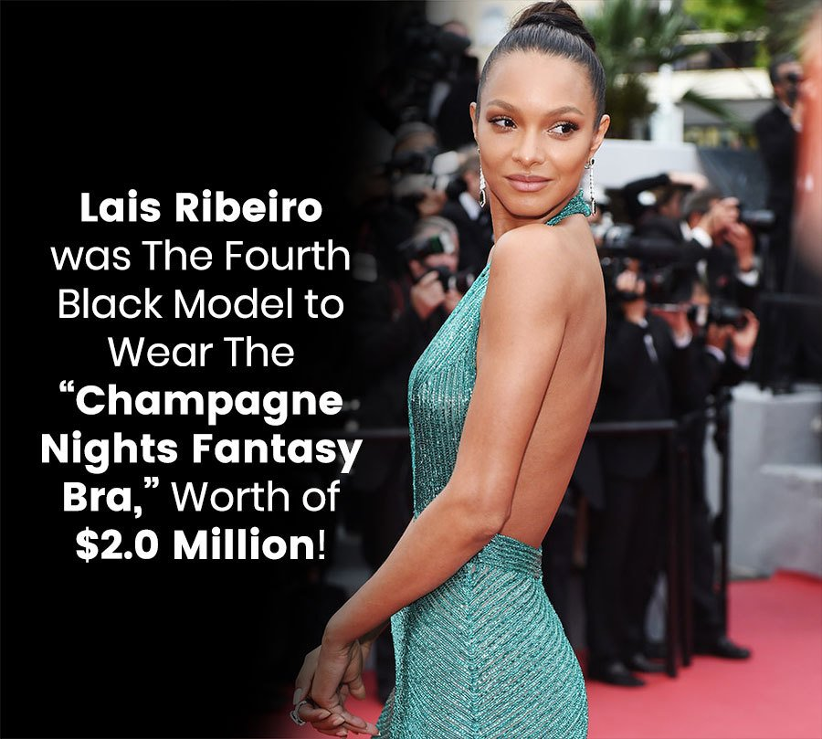 "Lias Ribeiro was the fourth black model to wear the ""Champagne Nights Fantasy Bra,"" worth of $2.0 million!"