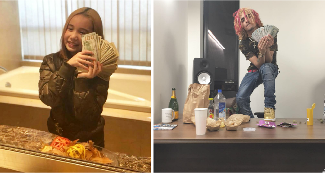 Lil Pump and Lil Tay Showing off Cash