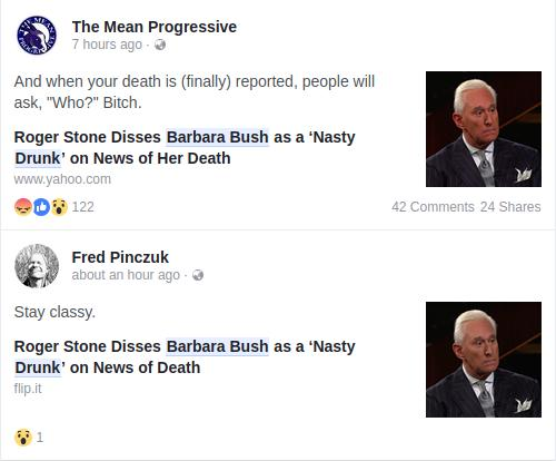 Roger Stone's Post Reaction on Facebook