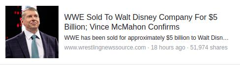 WWE Sold to Disney