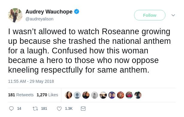 Audrey's Tweet on Roseanne