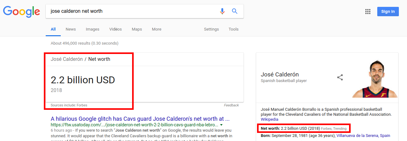 Jose Calderon Net Worth Google Glitch