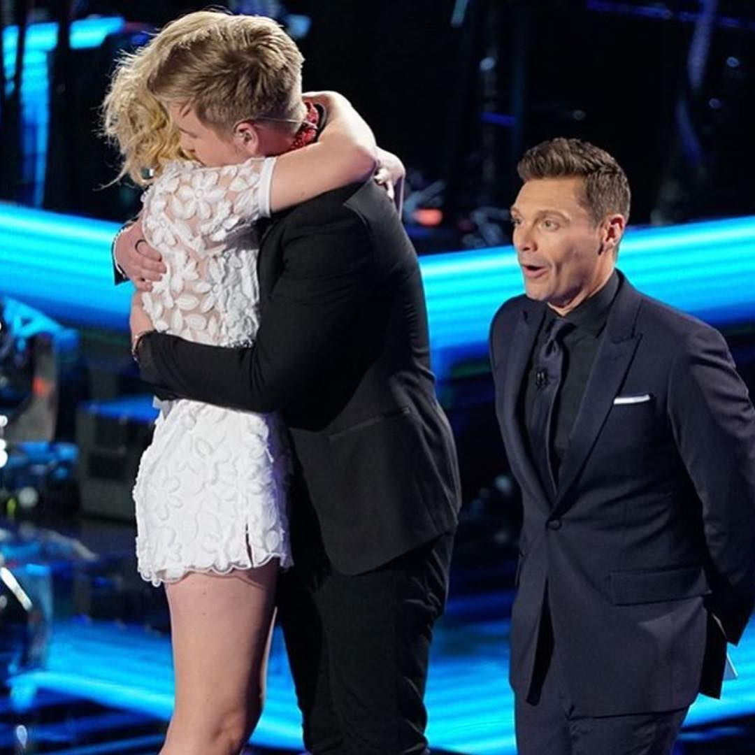 Lee Hutchinson celebrates his girlfriend, Maddie Poppe's win