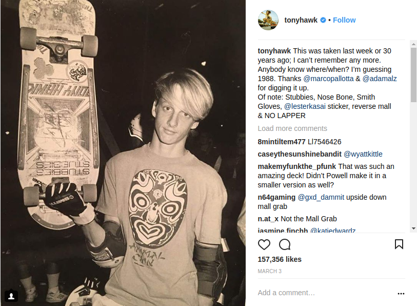 Tony Hawk Holding a Skateboard When He Was Young