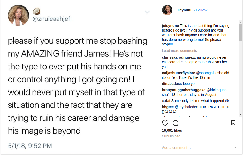 Znuie's Instagram Post on Friend James