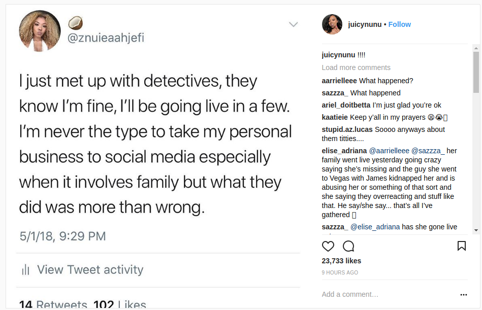 Znuie's Instagram Post on Meeting up With Detectives