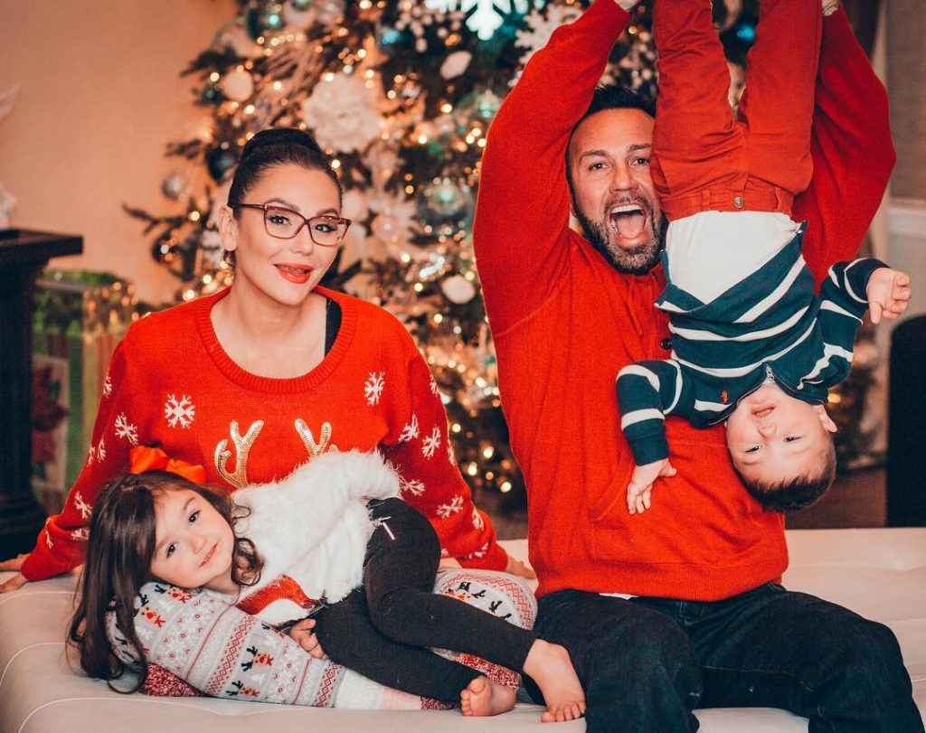 Jersey Shore star, JWoww, with husband, Roger Mathew, and their kids, Meilani and Greyson