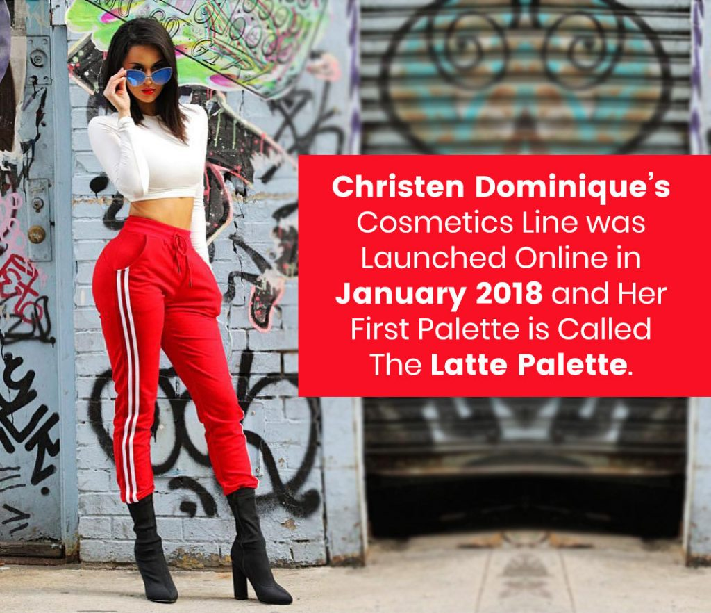 Christen Dominique's cosmetics line was launched online in January 2018