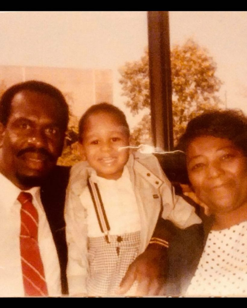Fox News reporter, Gianno Caldwell (middle) with his grandfather, James William and grandmother