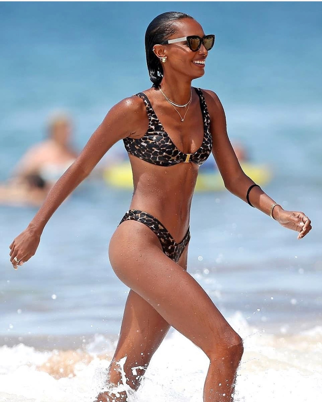 Jasmine Tookes at a beach in Hawaii