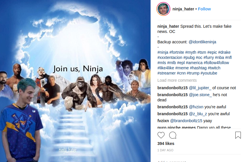 Ninja Hater's Insta Post