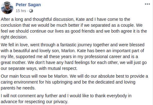 Peter Sagan Divorce Post