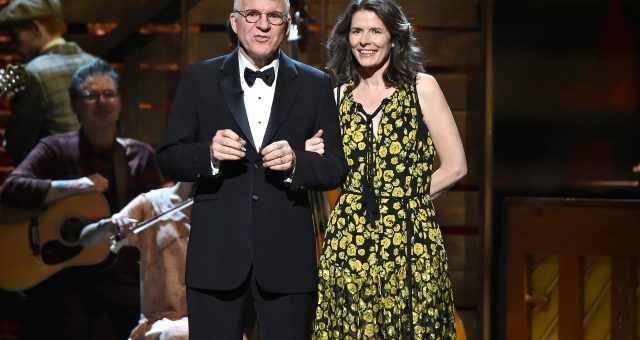 Steve Martin and Wife, Anne Stringfield onstage during the 70th Annual Tony Awards