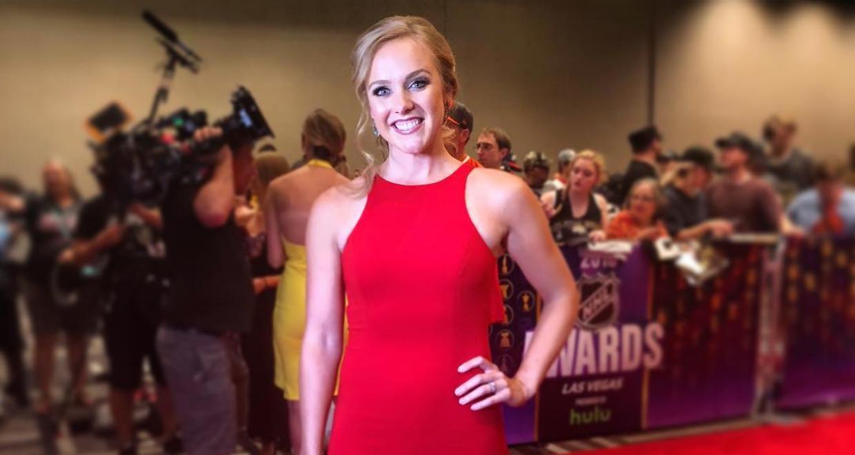 Studio host, Jamie Hersch Looks Ravishing in Red