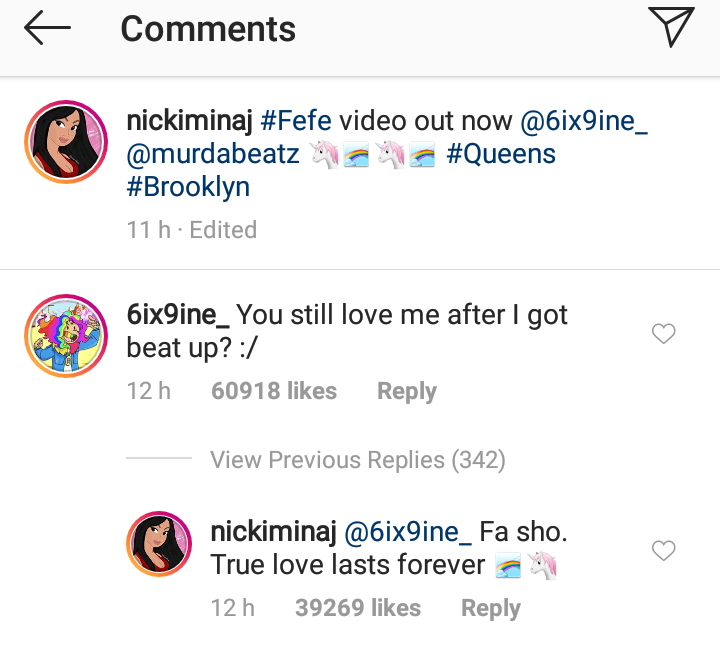 Tekashi 69 & Nicki Minaj Comment