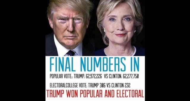 Trump Won Popular Vote of 2016 Elections