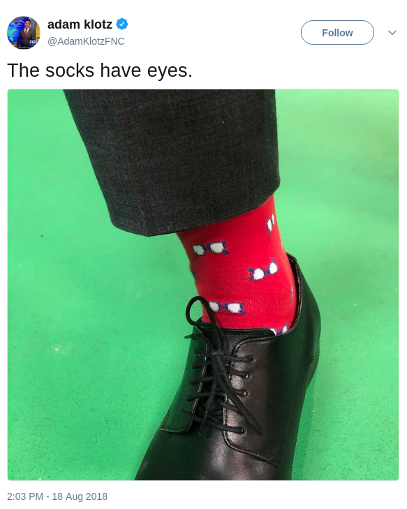 Adam Klotz's Socks Tweet
